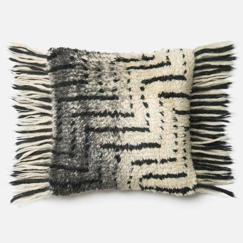 Black and Ivory 18-Inch Decorative Pillow with Poly Insert