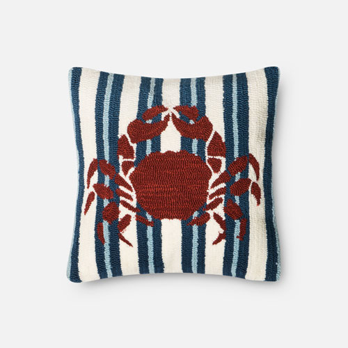 Navy and Red 18-Inch Decorative Pillow with Poly Insert