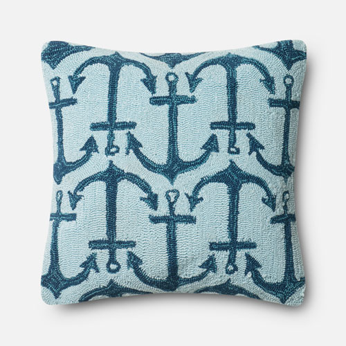Navy and Light Blue 22-Inch Decorative Pillow with Poly Insert