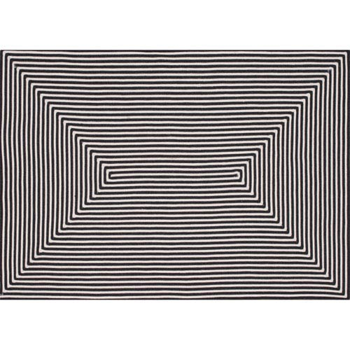 In/Out Black Rectangular: 7 Ft 6 In x 9 Ft 6 In Rug
