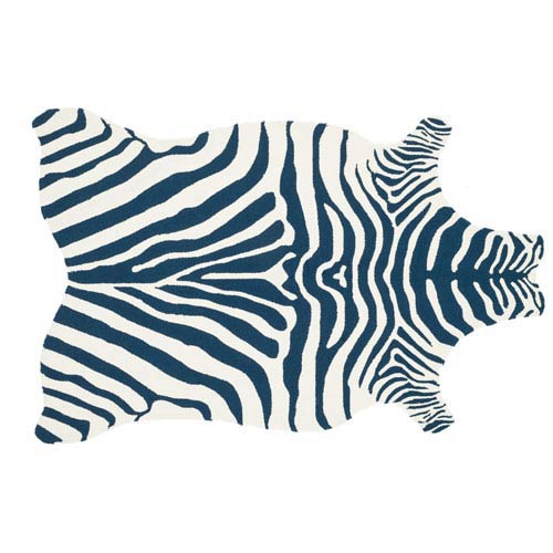 Zadie Navy and White Novelty: 3 Ft 6 In x 5 Ft 6 In Rug