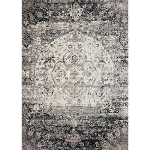 Anastasia Ink and Ivory Round: 9 Ft. 6 In. x 9 Ft. 6 In. Rug