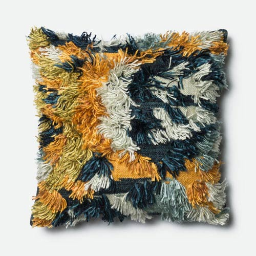 Marine and Gold 22-Inch Pillow with Down Insert