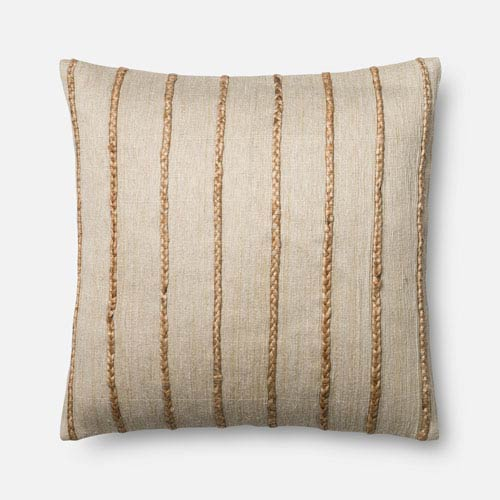 Beige 22-Inch Square Throw Pillow with Down