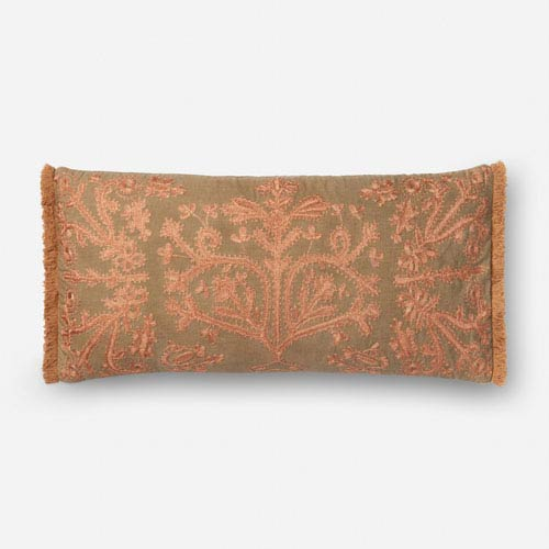 Khaki and Copper 1 Ft. x 2 Ft. 3 In. Pillow Cover with Down Insert