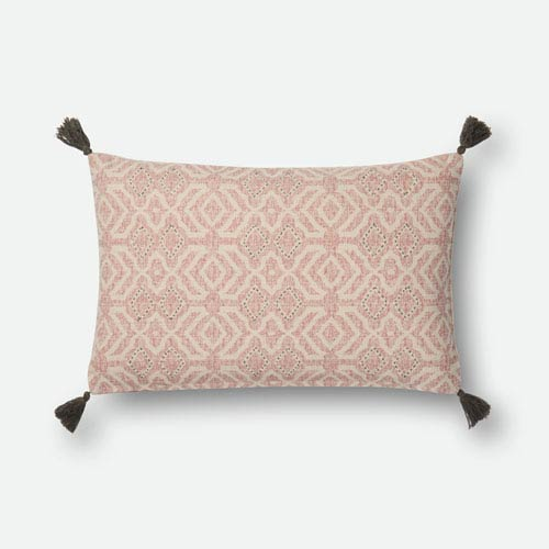 Loloi Natural and Pink 13 In. x 21 In. Pillow Cover with Down Insert