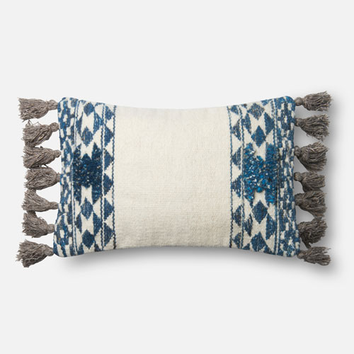 Loloi Blue and Ivory 13 x 21 In. Pillow with Down Fill