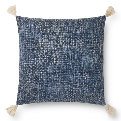 Blue 22 In. Pillow with Down Fill