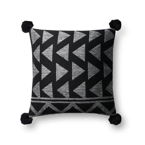 Black and White 18 In. Pillow with Down Fill