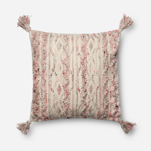Pink and Ivory 18 In. Pillow with Down Fill