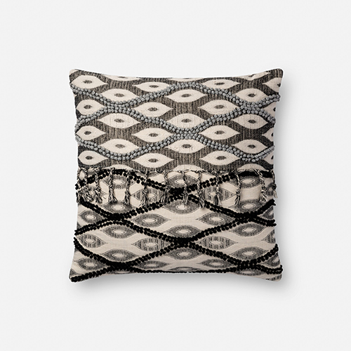Black and White 18 In. x 18 In. Throw Pillow with Down Fill