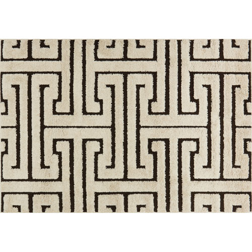 Enchant Ivory and Dark Brown Runner: 2 Ft. 3 In. x 8 Ft. Rug