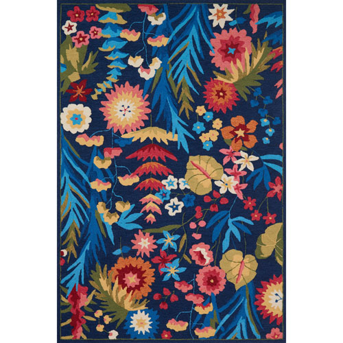 Loloi Francesca Navy and Fiesta Rectangular: 2 Ft. 3 In. x 3 Ft. 9 In.  Rug