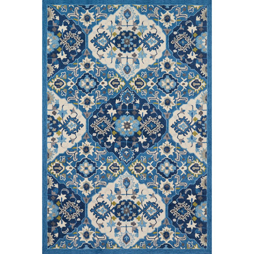 Francesca Blue and Ivory Rectangular: 2 Ft. 3 In. x 3 Ft. 9 In.  Rug