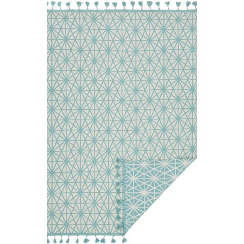 Loloi Kahelo Ivory and Aqua Rectangular: 2 Ft. 3-Inch x 3 Ft. 9-Inch Rug