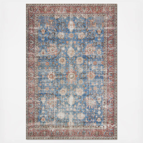 Loren Blue and Brick Rectangular: 8 Ft. 4 In. x 11 Ft. 6 In.  Rug