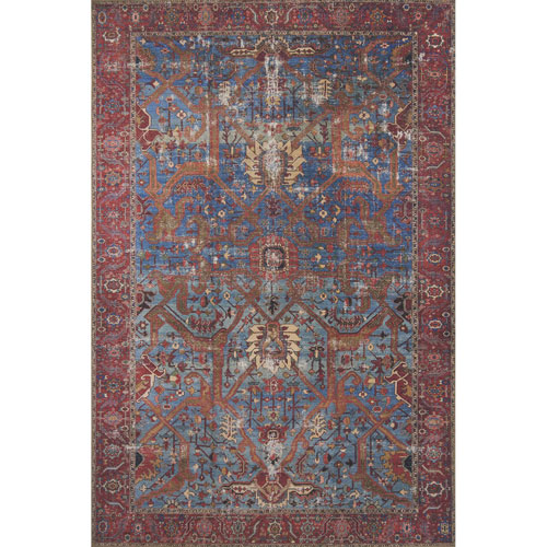 Loloi Loren Blue and Red Rectangular: 8 Ft. 4 In. x 11 Ft. 6 In.  Rug