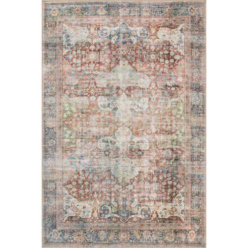 Loloi Loren Brick and Multicolor Rectangular: 2 Ft. 3 In. x 3 Ft. 9 In.  Rug