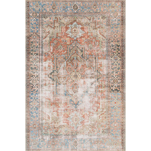 Loren Terracotta and Sky Rectangular: 2 Ft. 3 In. x 3 Ft. 9 In.  Rug