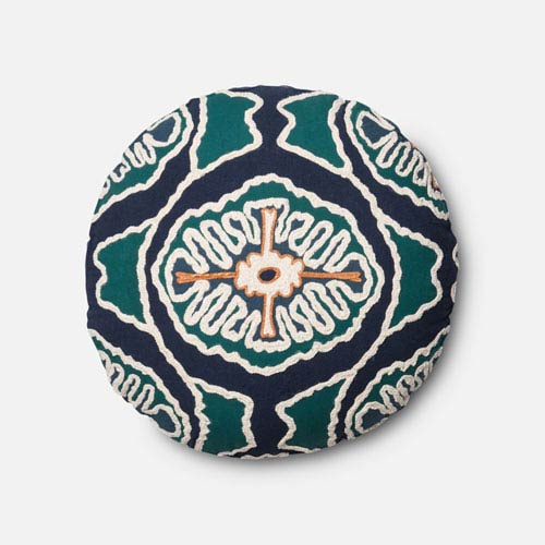 Blue and Teal 20-Inch Round Pillow with Poly Insert
