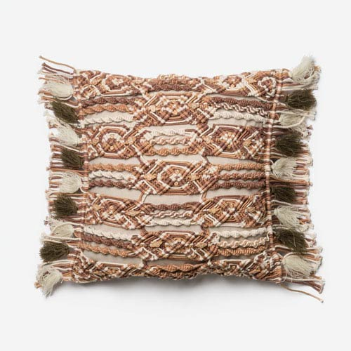 Brown and Ivory 18-Inch Square Throw Pillow with Polyester Filling