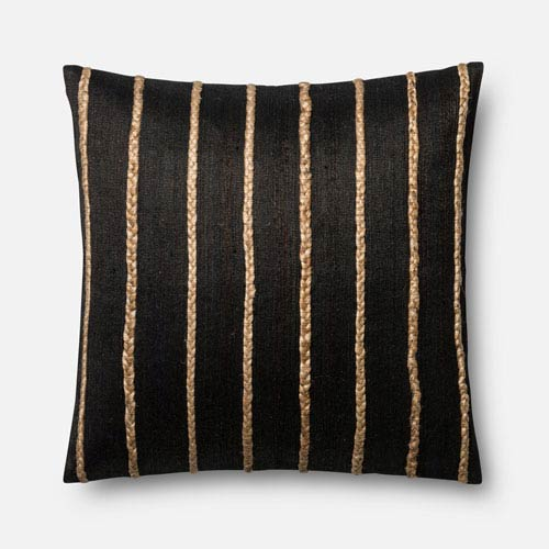 Black 22-Inch Square Throw Pillow with Polyester Filling