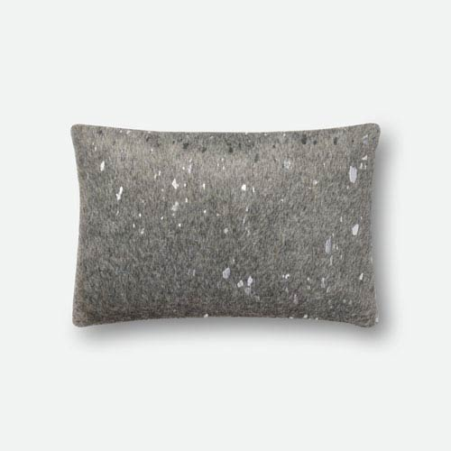 Loloi Grey and Silver 13 In. x 21 In. Pillow Cover with Poly Insert