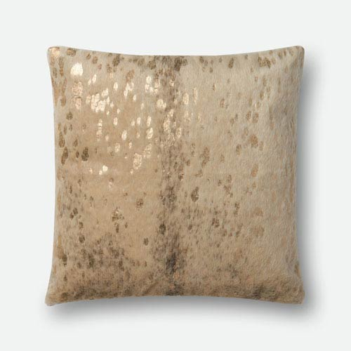 Loloi Beige and Gold 22 In. x 22 In. Pillow Cover with Poly Insert