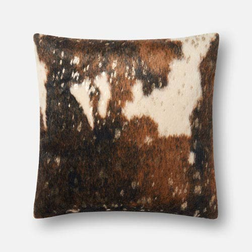 Dark Brown and Gold 22 In. x 22 In. Pillow Cover with Poly Insert