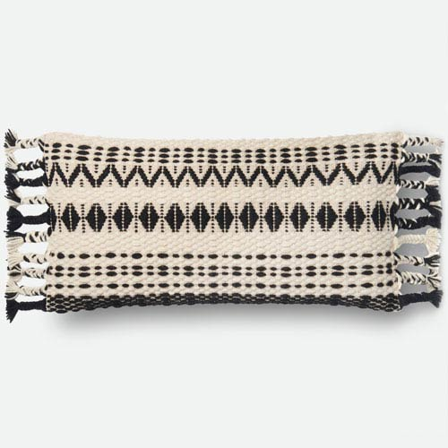 Black and White 1 Ft. x 2 Ft. 3 In. Pillow Cover with Poly Insert