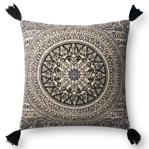 Black 22 In. Pillow with Poly Fill