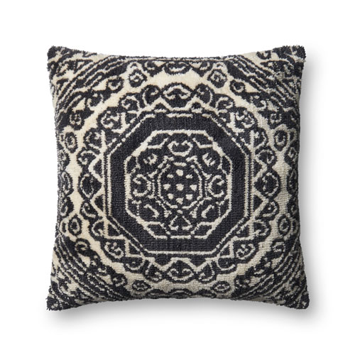 Black and White 22 In. Pillow with Poly Fill