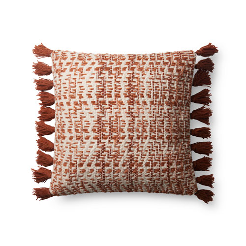 Orange and Natural 18 In. Pillow with Poly Fill