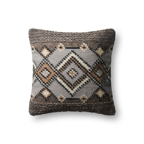 Loloi Grey and Natural 18 In. Pillow with Poly Fill