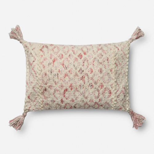 Loloi Pink and Ivory 13 x 21 In. Pillow with Poly Fill