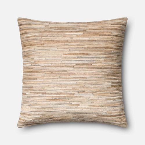 Beige 22-Inch Pillow with Poly Insert