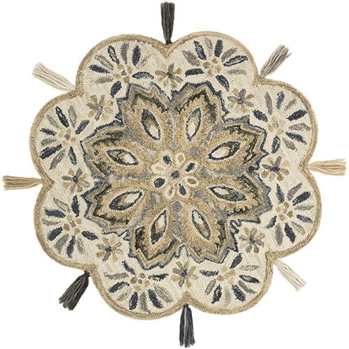 Remy Ivory and Sand Round: 3 Ft. x 3 Ft. Rug