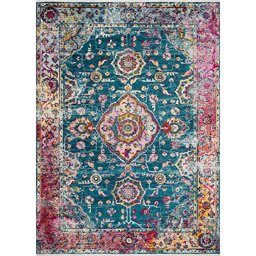 Cielo Teal and Berry Runner: 2 Ft. 6 In. x 8 Ft. Rug