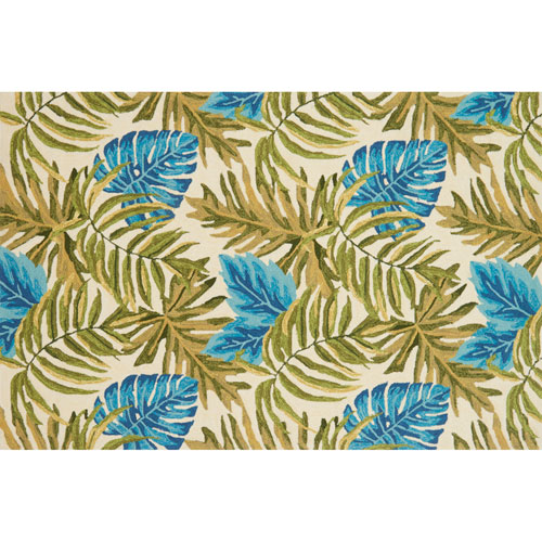Venice Beach Ivory and Green Square: 1 Ft. 6 In. Indoor/Outdoor Rug