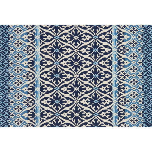 Loloi Venice Beach Blue and Ivory Square: 1 Ft. 6 In. Indoor/Outdoor Rug