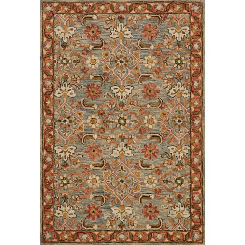 Loloi Victoria Slate and Terracotta Rectangular: 2 Ft. 3-Inch x 3 Ft. 9-Inch Rug