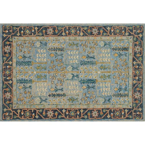 Victoria Light Blue and Dark Blue Rectangular: 5 Ft. x 7 Ft. 6 In.