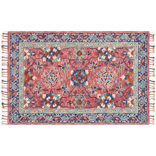 Loloi Zharah Rose and Denim Square: 1 Ft. 6-Inch x 1 Ft. 6-Inch