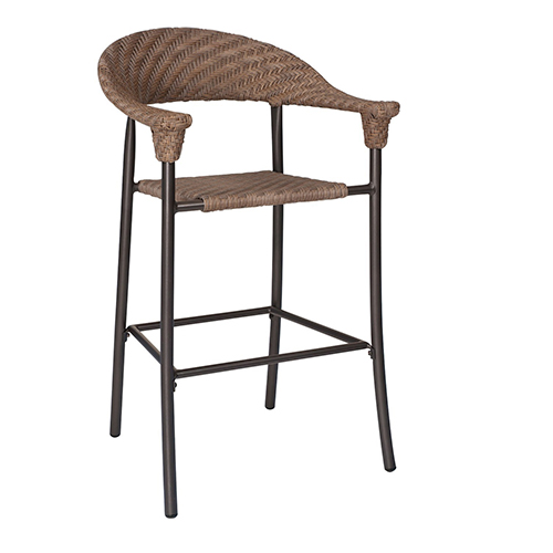 Barlow Bronzed Teak Stationary Bar Stool