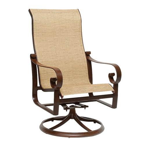 Woodard Belden Sling Current Sisal High Back Swivel Rocker Dining Arm Chair