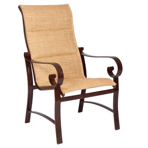 Belden Padded Sling Sultan Camel High Back Dining Arm Chair