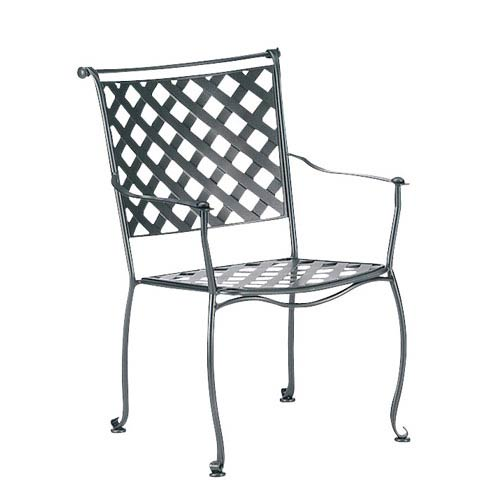 Woodard Maddox Textured Black Stackable Dining Arm Chair
