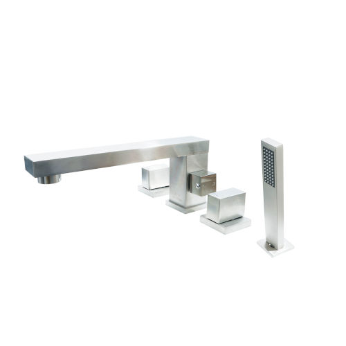 Brook Brushed Nickel Roman Tub Filler Deck Mount with Hand Shower For Tub and Jacuzzi