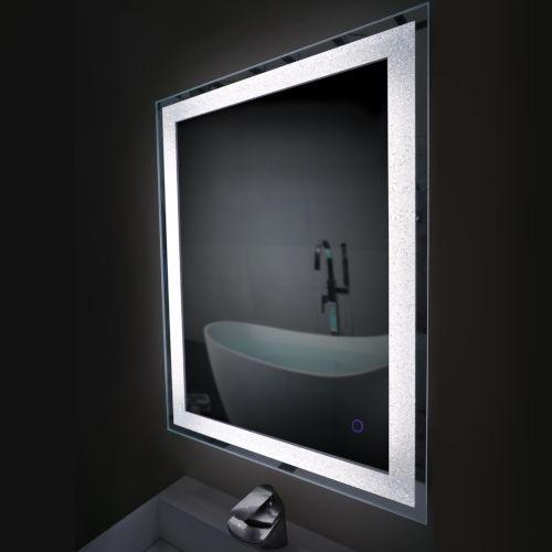 Edison Crystal Rectangular Silver 24-Inch LED Bathroom Mirror