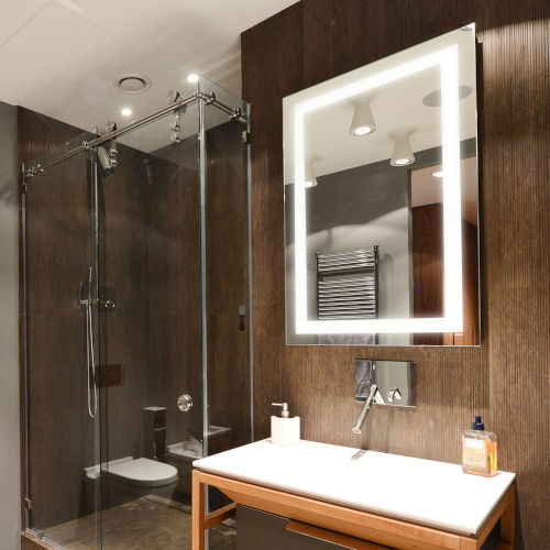 Edison Tri-Color Rectangular Silver 30-Inch LED Bathroom Mirror